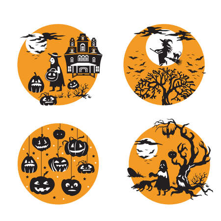 Vector Set for Halloween, four small illustration with characters of Halloween boy in costume and haunted house, flying witch and bats, Halloween pumpkins, ghost in scary forest). Stock image for desi