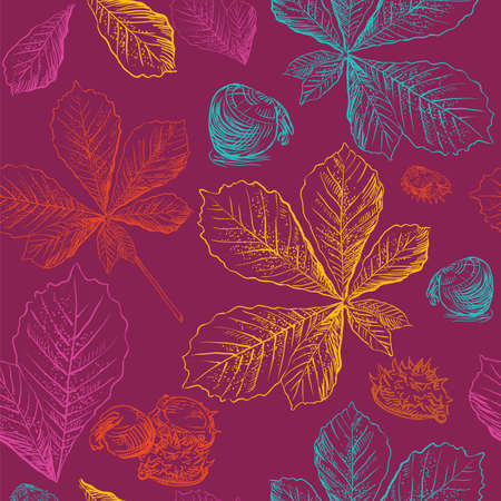 Vector autumn hand drawing seamless pattern with bright colorful horse chestnut  leaves and seeds outline on the maroon background. Fall line art of foliage in different color. stock illustration