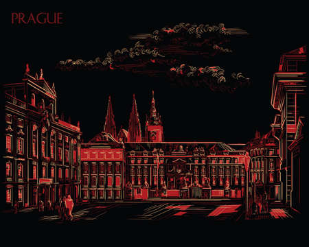 Vector hand drawing Illustration of Hradcany square. The Central gate of the Hradcany Castle. Landmark of Prague, Czech Republic. Vector illustration in red and beige colors isolated on black background. Ilustração