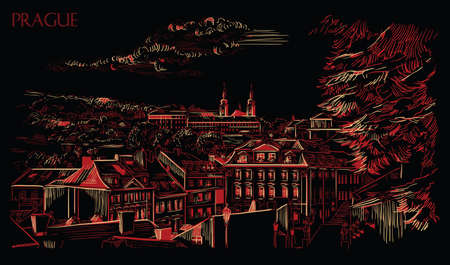 Vector hand drawing Illustration of panoramic cityscape of Prague. Strahov Monastery and roofs of Prague. Landmark of Prague, Czech Republic. Vector illustration in red and beige colors isolated on black background.  Illustration