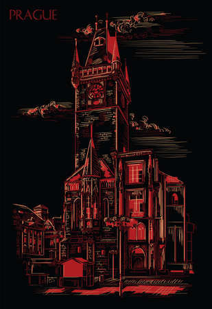 Vector hand drawing Illustration of Old Town Hall in Prague. Landmark of Prague, Czech Republic. Vector illustration in red and beige colors isolated on black background. 向量圖像