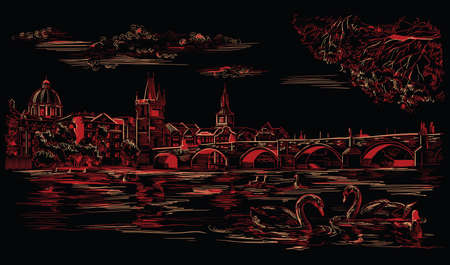 Vector hand drawing Illustration Cityscape of Charles Bridge and swans in Vltava river in Prague. Landmark of Prague, Czech Republic. Vector illustration in red and beige colors isolated on black background.