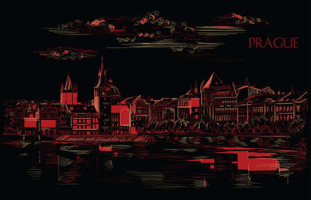 Vector hand drawing Illustration of Prague old city panorama, river Vltava. Landmark of Prague, Czech Republic. Vector illustration in red and beige colors isolated on black background. 向量圖像