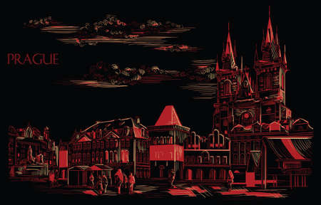 Vector hand drawing Illustration. Cityscape of Old Town Square and Tyn Church.  Landmark of Prague, Czech Republic. Vector illustration in red and beige color isolated on black background. 向量圖像