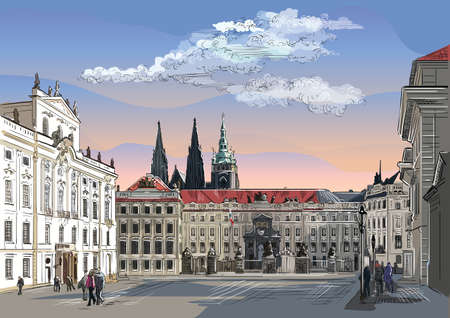 Colorful vector hand drawing Illustration of Hradcany square. The Central gate of the Hradcany Castle. Landmark of Prague, Czech Republic. Vector olorful illustration of landmark of Prague. Ilustração