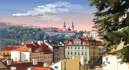 Colorful vector hand drawing Illustration of panoramic cityscape of Prague. Strahov Monastery and roofs of Prague. Landmark of Prague, Czech Republic. Colorful vector illustration.