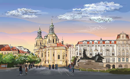 Colorful vector hand drawing Illustration. Cityscape of St. Nicholas church and Jan Hus Memorial.  Landmark of Prague, Czech Republic. Colorful vector illustration of landmark of Prague.