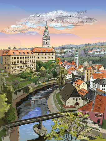 Colorful vector hand drawing Illustration of panoramic cityscape of Cesky Krumlov. Aerial View on roofs, castle and river. Landmark of Czech Republic. Colorful vector illustration.  向量圖像
