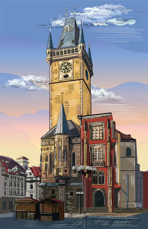 Colorful vector hand drawing Illustration of Old Town Hall in Prague. Landmark of Prague, Czech Republic. Vector illustration of landmark of Prague.