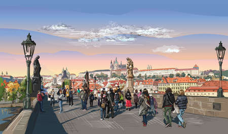 Colorful vector hand drawing Illustration of Charles Bridge and panorama of  Prague. Landmark of Prague, Czech Republic.Colorful vector illustration of landmark of Prague.