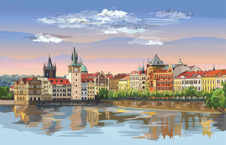 Colorful vector hand drawing Illustration of Prague old city panorama with river Vltava. Landmark of Prague, Czech Republic. Vector illustration of landmark of Prague. 向量圖像