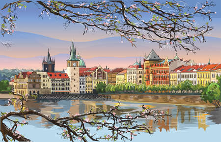 Colorful vector hand drawing Illustration of Prague old city panorama with blossom tree, river Vltava. Landmark of Prague, Czech Republic. Vector illustration of landmark of Prague.