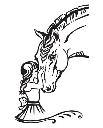 Girl embrace horse head , monochrome decorative portrait in profile of girl and horse, vector isolated illustration in black color on white background. Cartoon illustration for design and tattoo. Illustration
