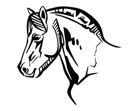 Monochrome decorative portrait in profile of horse, vector isolated illustration in black color on white background. Image for design and tattoo. 版權商用圖片 - 134372571