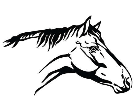 Monochrome decorative portrait in profile of horse, vector isolated illustration in black color on white background. Image for design and tattoo.