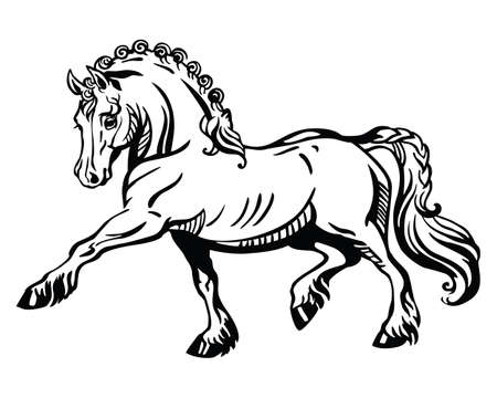 Monochrome decorative portrait of pony steps in profile, training pony. Vector isolated illustration in black color on white background. Image for design and tattoo. Illustration