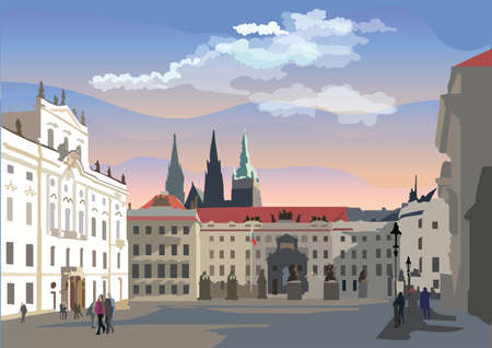 Colorful vector Illustration of Hradcany square. The Central gate of the Hradcany Castle. Landmark of Prague, Czech Republic. Vector colorful Illustration of landmark of Prague.