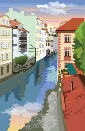 Colorful vector Illustration of Certovka Canall in Prague. Landmark of Prague, Czech Republic. Colorful vector illustration of landmark of Prague.