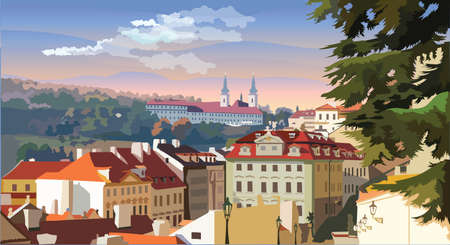 Colorful vector illustration of panoramic cityscape of Prague. Strahov Monastery and roofs of Prague. Landmark of Prague, Czech Republic. Colorful vector illustration.