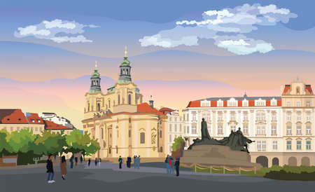 Colorful vector Illustration. Cityscape of St. Nicholas church and Jan Hus Memorial.  Landmark of Prague, Czech Republic. Colorful vector illustration of landmark of Prague.