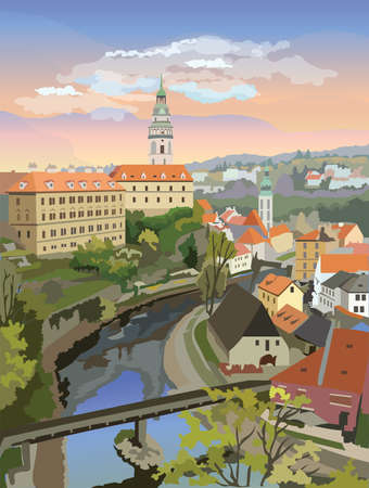 Colorful vector Illustration of panoramic cityscape of Cesky Krumlov. Aerial View on roofs, castle and river. Landmark of Czech Republic. Colorful vector illustration.