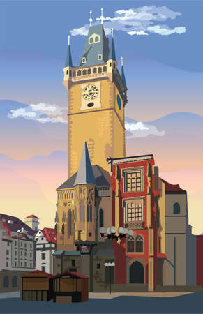 Colorful vector Illustration of Old Town Hall in Prague. Landmark of Prague, Czech Republic. Vector illustration of landmark of Prague.