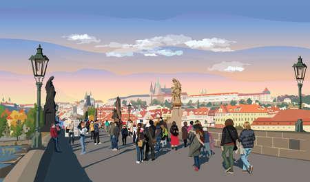 Colorful vector Illustration of Charles Bridge and panorama of  Prague. Landmark of Prague, Czech Republic.Colorful vector illustration of landmark of Prague.