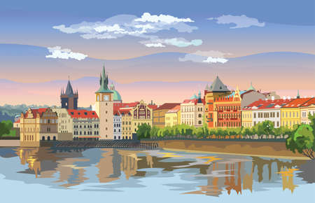 Colorful vector illustration of Prague old city panorama with river Vltava. Landmark of Prague, Czech Republic. Vector illustration of landmark of Prague.