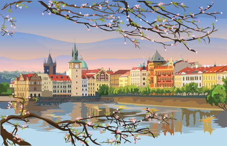 Colorful vector Illustration of Prague old city panorama with blossom tree, river Vltava. Landmark of Prague, Czech Republic. Vector illustration of landmark of Prague. Vectores
