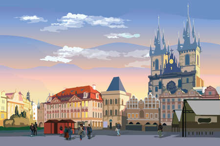 Colorful vector drawing Illustration. Cityscape of Old Town Square and Tyn Church.  Landmark of Prague, Czech Republic. Vector illustration of landmark of Prague.