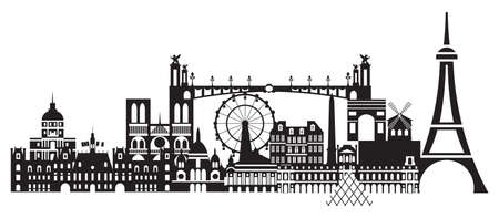 Panoramic Paris City Skyline vector Illustration in black and white colors isolated on white background. Vector silhouette Illustration of landmarks of Paris,France.