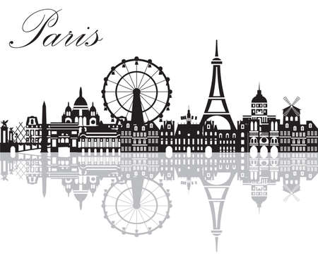 Panoramic Paris City Skyline with reflection of city. Vector Illustration in black and white colors isolated on white background. Vector silhouette Illustration of landmarks of Paris,France.