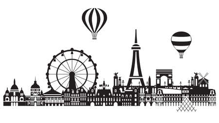 Panoramic Paris City Skyline vector Illustration in black and white colors isolated on white background. Vector silhouette Illustration of landmarks of Paris,France. Banque d'images - 134431339