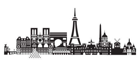Panoramic Paris City Skyline vector Illustration in black and white colors isolated on white background. Vector silhouette Illustration of landmarks of Paris,France. Banque d'images - 134431341