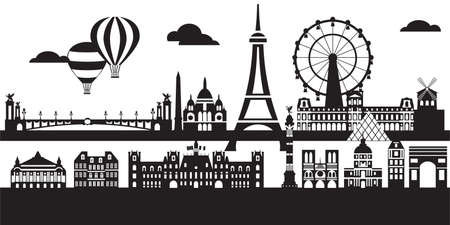 Panoramic Paris City Skyline vector Illustration in black and white colors isolated on white background. Vector silhouette Illustration of landmarks of Paris, France. Banque d'images - 134431348