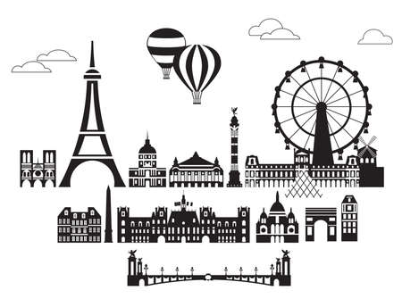 Vector set of  landmarks of Paris. City Skyline vector Illustration in black and white colors isolated on white background. Vector silhouette Illustration of landmarks of Paris, France. 일러스트