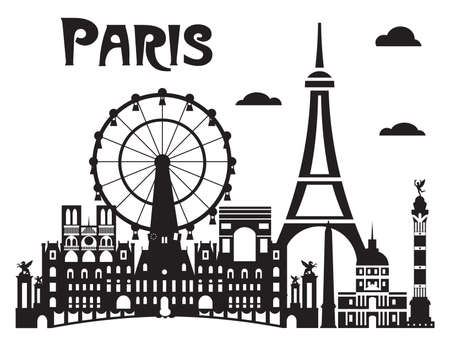 Paris City Skyline vector Illustration in black and white colors isolated on white background. Vector silhouette Illustration of landmarks of Paris, France. Banque d'images - 134431358