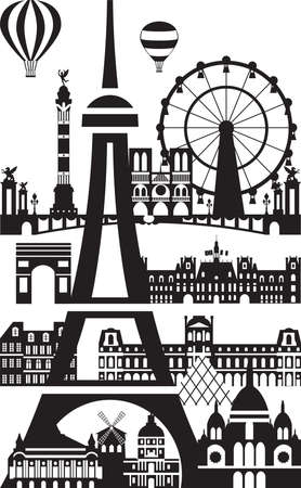 Poster with landmarks of Paris, vector illustration in black and white colors isolated on white background. Vector silhouette Illustration of landmarks of Paris, France. Banque d'images - 134431361