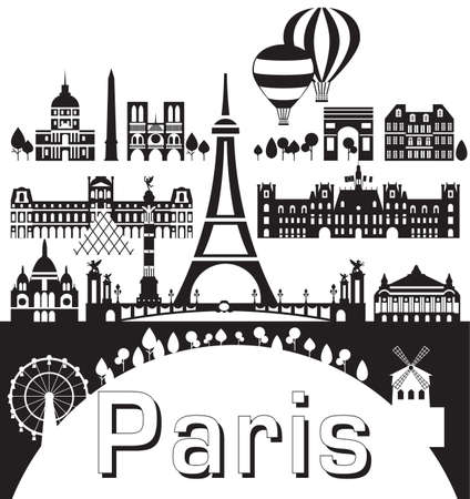 Vector set of  landmarks of Paris. Poster of Paris city skyline, vector Illustration in black and white colors isolated on white background. Vector silhouette Illustration of landmarks of Paris,France. Banque d'images - 134431364