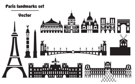 Vector set of  landmarks of Paris. Vector Illustration in black and white colors isolated on white background. Vector silhouette Illustration of different landmarks of Paris, France. Banque d'images - 134431385