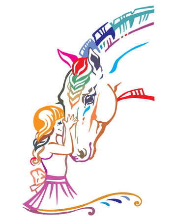 Girl embrace horse head , colorful decorative portrait in profile of girl and horse, vector isolated illustration in different colors on white background. Cartoon illustration for design and tattoo.