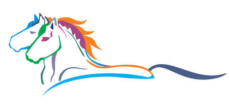 Colorful decorative portrait in profile of two running horses, vector isolated illustration in different colors on white background. Image for logo, design and tattoo.