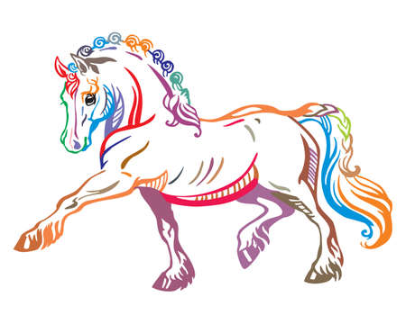 Colorful decorative portrait of pony steps in profile, training pony. Vector isolated illustration in different colors on white background. Image for design and tattoo.