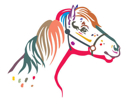 Colorful decorative portrait in profile of pony in bridle, vector isolated illustration in black color on white background. Image for design and tattoo.