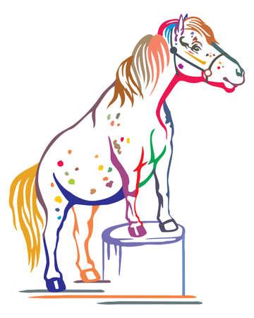 Buntes dekoratives Porträt des Ponys, das im Profil auf einem Stumpf steht, Trainingspony. Vektor lokalisierte Illustration in der schwarzen Farbe auf weißem Hintergrund. Bild für Design und Tätowierung.