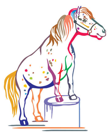 Colorful decorative portrait of pony standing in profile on a stump, training pony. Vector isolated illustration in black color on white background. Image for design and tattoo. Ilustração