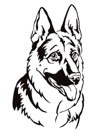 Decorative contour outline portrait of Dog German Shepherd looking in profile, vector illustration in black color isolated on white background. Image for design and tattoo.