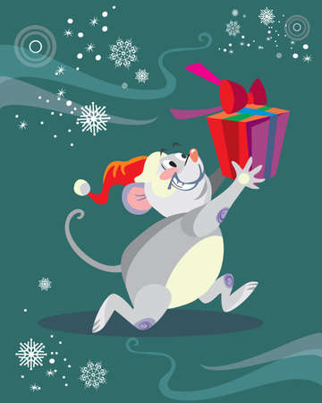 Vector illustration of cute mouse character running with gift on turquoise background. Vector cartoon stock illustration.Winter holiday, Christmas eve concept. For prints, banners, stickers, cards