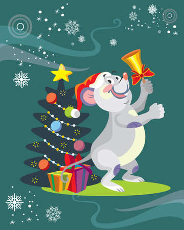 Vector illustration of cute mouse character ringing the bell on turquoise background. Vector cartoon stock illustration.Winter holiday, Christmas eve concept. For prints, banners, stickers, cards