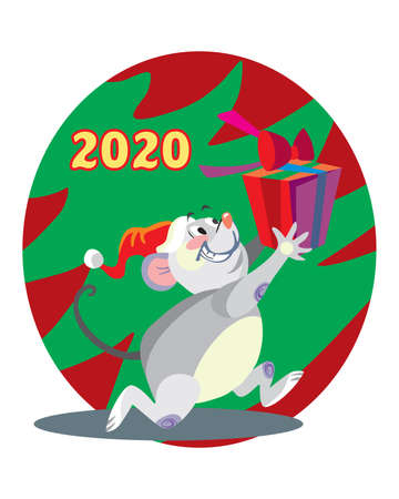 Vector illustration of cute mouse character running with present on background with Christmas tree. Vector cartoon stock illustration.Winter holiday, Christmas eve concept. For prints, banners, sticke